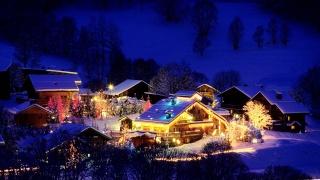 кабина, гора, дерево, снег, озеро, свет