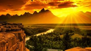 sunrise, river, delta, trees, rock, mountain, sunlight
