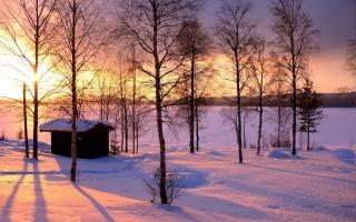 winter, trees, snow, path, mountain, moon, cabin