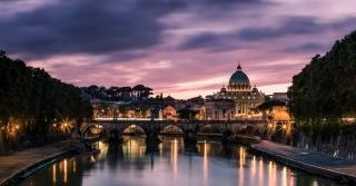 місто, вогні, будівлі, освітлення, річка, міст, краса