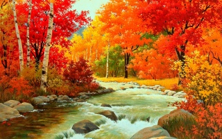 obraz, příroda, podzim, řeka, les, hory