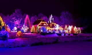 winter, evening, lights, New year, 2015, beautiful, the house, the lake