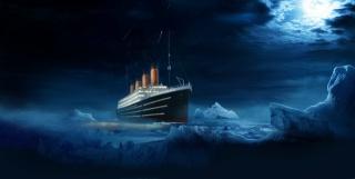 Титанік, картина, ніч, айсберг, момент, Титанік, красиво, арт, місяць, темний фон