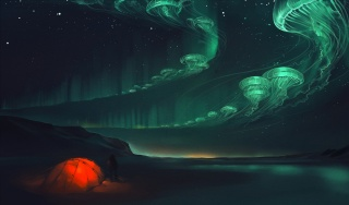 fantasy, art, winter, night, Northern lights