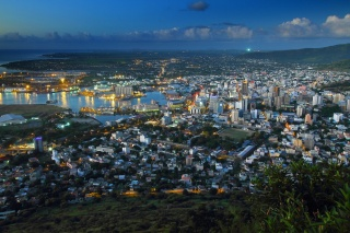 Mauritius, the city, lights, lighting, building, evening, beauty