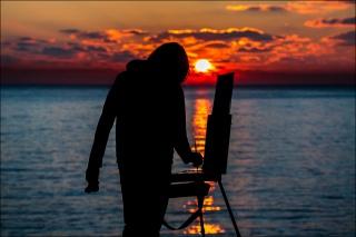 закат, солнце, Сергей Анашкевич, художник, фотограф, мужчина, Крым, Севастополь, херсонес, мыс, море, вода, белое, жёлтое, оранжевое, красное