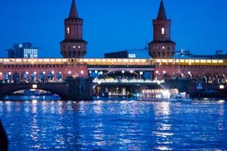 Германия, мост, река, огни, освещение, вечер, набережная, красота, города мира
