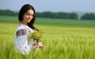 girl, brunette, macro, photo, nature, Ukrainka, posing, beautiful, field, wheat, summer, beautiful