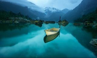 човен, озеро, гори, відображення, краса