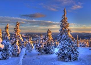 zima, příroda, krásně, hory, Norsko, letovisko, krásně