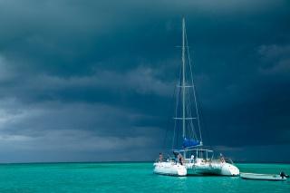Маврикій, узбережжя, океан, небо, хмари, яхта, краса