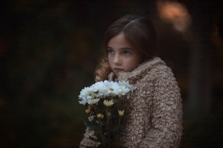 girl, flowers, chamomile, view, beauty, sadness