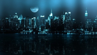 the city, New York, reflection, the moon