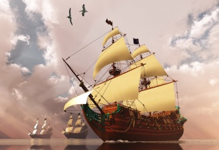 3D, sailboat, ships, fantasy, art, work, birds, beautiful, water, the sky, clouds