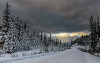 winter, nature, road, forest, mountains, cloudy, beautiful