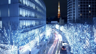 lights, blue, tokio, japan, road, building