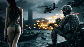 battlefield, war, soldier, girl, gun, fire, city