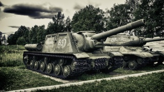 ISU-152, Hunter, heavy, Soviet, self-propelled, artillery, self-propelled artillery, The Great Patriotic War, war, Park, Museum, weather, the sky, clouds