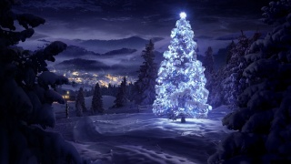 nature, New year, forest, night, tree, mountains, the city, beautiful