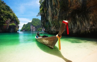 nature, the ocean, boat, rock, mountains, Paradise, summer, the rest, beautiful, Thailand