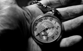 black and white, hand, clock