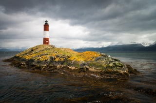 Argentina, lighthouse, island, mountains, the sky, clouds, beauty