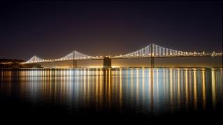 Міст Через Бухту, міст Бей Бридж, Окленд, Окленд, Сан-Франциско, Сан-Франциско, Каліфорнія, Каліфорнія, США, США, місто, ніч, висячий, міст, освітлення, затока, вода, відображення, світло