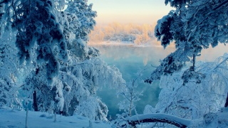 зима, гора, снег, деревья, дорога, солнце, небо, синий
