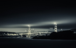 Сан-Франциско, Сан-Франциско, Мост Через Бухту, Калифорния, город, мост, огни, ночь, небо