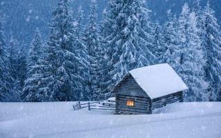 зима, природа, домик, лес, снегопад, красиво