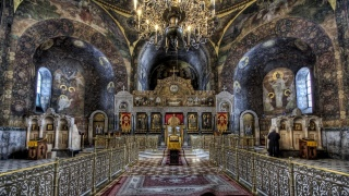 the Church, the nave, the iconostasis, chandelier, HDR