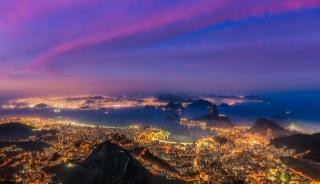 Бразилия, Рио-де-Жанейро, бей, Бразилия, Рио-де-Жанейро, залив, лодки, корабли, огни, закат