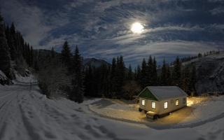 снег, домик, полнолуние, луна, облака, свет, праздник, романтика, зима