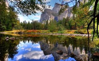 lake, autumn, mountain, trees, leaves