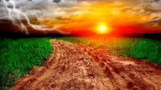 sunset, light, fields, grass, tree, sky, clouds, ray, lighting