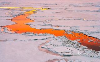 Antarctica, ice, polynya, sunset, water, reflection