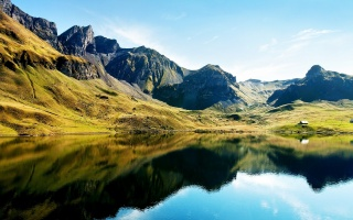 mountain, View, lake, trees, colors