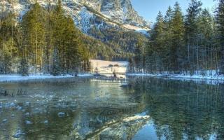 zima, horská řeka, hory, příroda, led, les, krásně