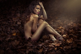 girl, brown hair, posing, autumn, photo, creative