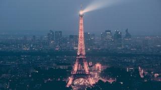 eiffel, Paříž, Francie, světlo, noc, evropa