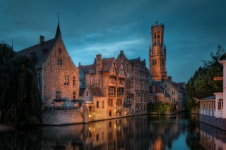 Belgium, Bruges, night, channel, lights, lighting, building, the sky, beauty