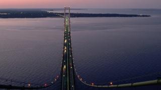 bridge, over, sea, water, city