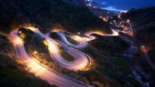 coastal, road, light, city, mountain