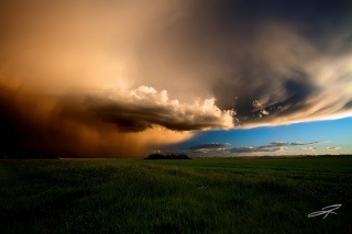 Canada, Alberta, evening storm, field, the sky, clouds, summer, June
