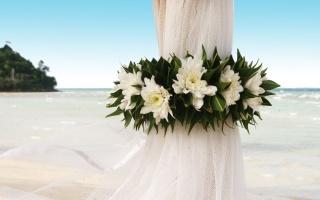 занавеска, цветы, берег, океан, свадьба, событие