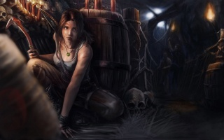 Tomb Raider, Lara Croft, tomb raider, skull, barrels, bandits, the ice pick, torch