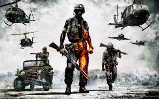 Battlefield: Bad Company 2, armed infantry, soldiers, aviation, technique