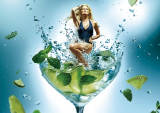 girl, blonde, creative, cocktail, Mojito, lime, mint, sexy, theme