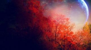 fantastické krajiny, planeta na obloze, stromy v багрянце, noc, podzim