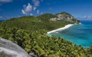 příroda, džungle, palmové, oceán, ráj, pláž, krásně, ostrov, hory, kameny